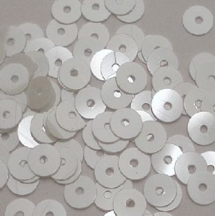 6mm Silky White Flat Round Sequins x 15g